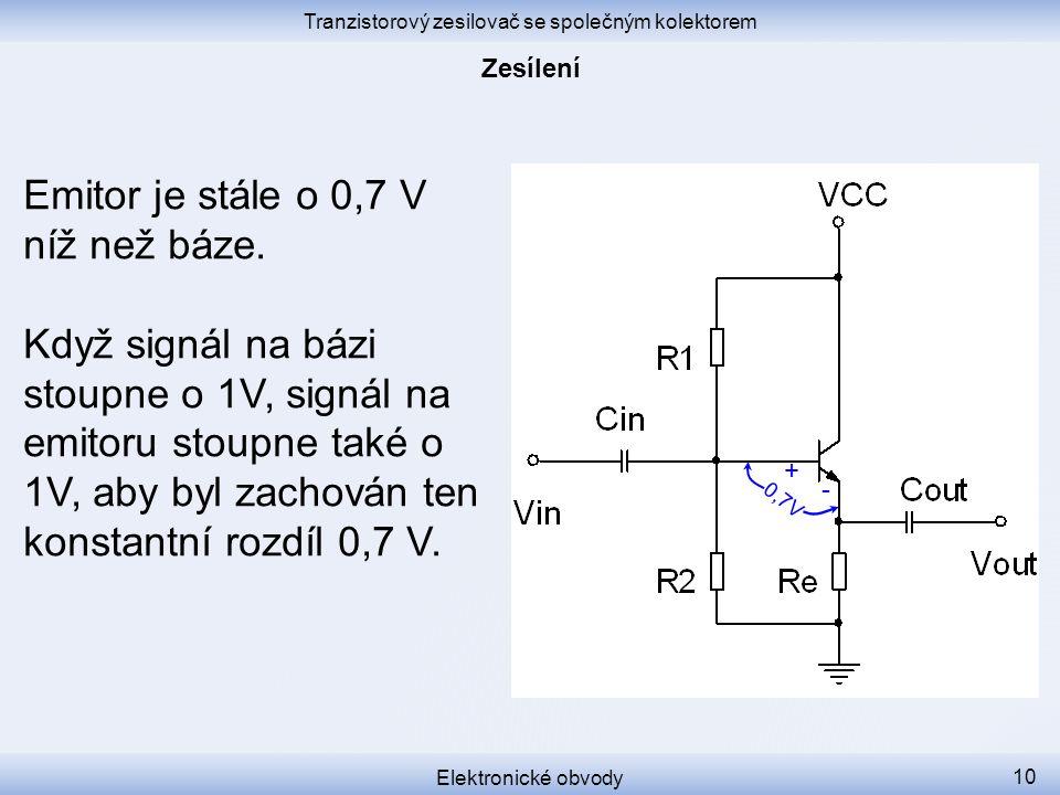 Tranzistorový zesilovač se společným kolektorem Elektronické obvody 10 Emitor je stále o 0,7 V níž než báze.