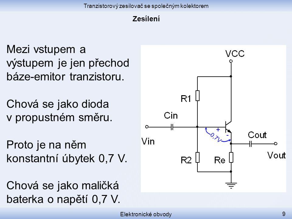 Tranzistorový zesilovač se společným kolektorem Elektronické obvody 20 Zapojení se společným kolektorem se používá tam, kde je zapotřebí velký vstupní odpor a velký výstupní proud.
