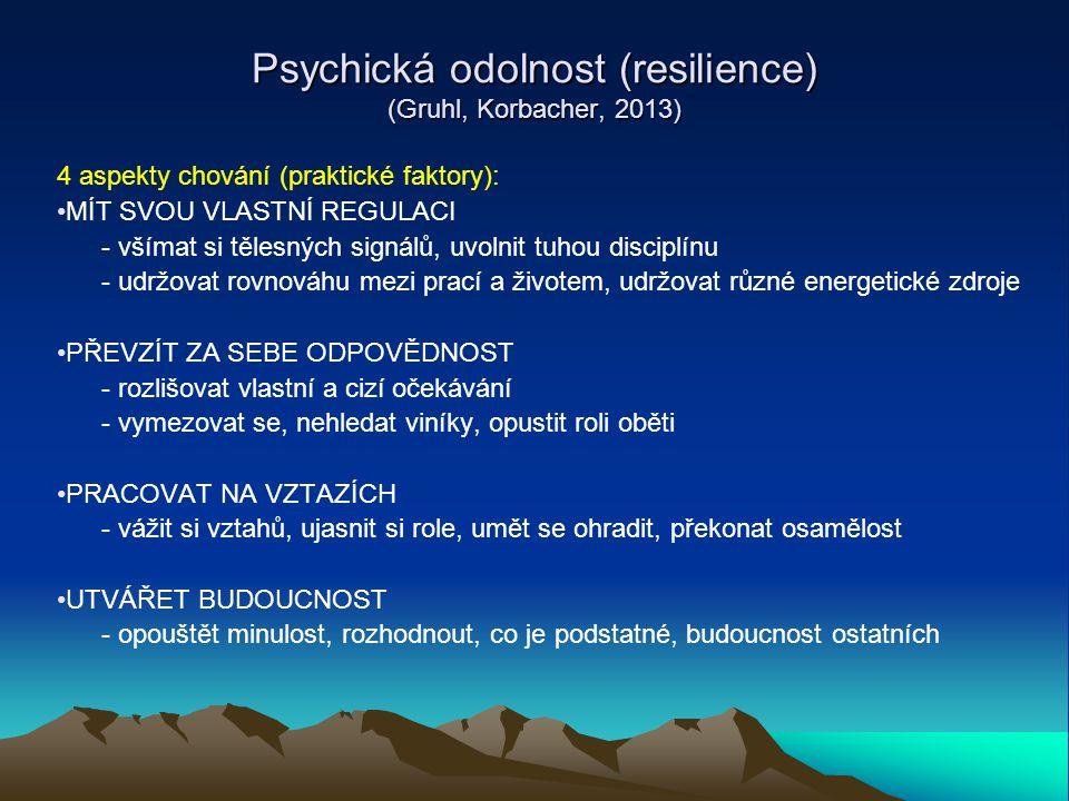 Psychická odolnost (resilience) (Gruhl, Korbacher, 2013) 4 aspekty chování (praktické faktory): MÍT SVOU VLASTNÍ REGULACI - všímat si tělesných signál