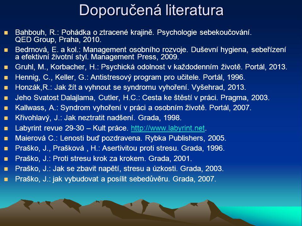Doporučená literatura Bahbouh, R.: Pohádka o ztracené krajině. Psychologie sebekoučování. QED Group, Praha, 2010. Bedrnová, E. a kol.: Management osob