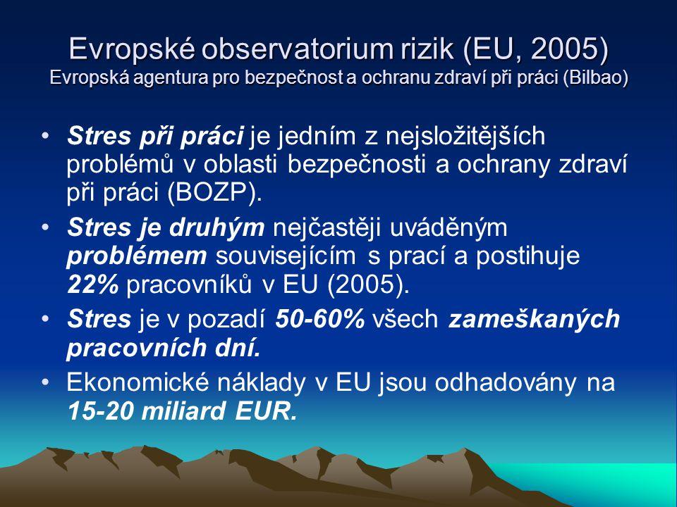 Evropské observatorium rizik (EU, 2005) Evropská agentura pro bezpečnost a ochranu zdraví při práci (Bilbao) Hlavní psychosociální rizika souvisejí s: - nejistými pracovními smlouvami - nestálostí zaměstnání - zvyšováním intenzity práce (přísné termíny, časový tlak, rostoucí množství informací, nové komunikační technologie, snižování počtu pracovníků, vysoké pracovní tempo) - vysokými emocionálními nároky spojenými s prací - násilím při práci (mobbing, sex.