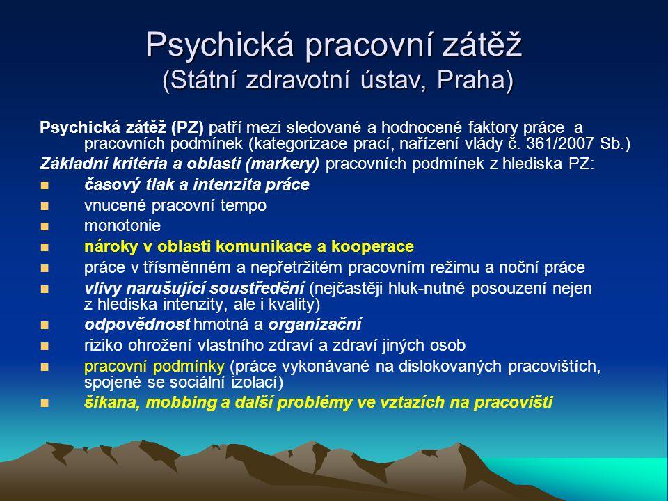Výskyt a formy mobbingu v českém pracovním prostředí (Zábrodská, Květoň, Konference psychologie práce, VŠE 2012) Výzkum – dotazníkové šetření mezi zaměstnanci státního a soukromého sektoru včetně 1533 zaměstnanců 3 veřejných univerzit a 40 navazujících hloubkových rozhovorů s obětmi a svědky mobbingu (šikana na pracovišti) Výsledky: 7,9% respondentů terčem mobbingu 28,8 % svědky mobbingu v posledním roce 38,8 % případů – pracoviště na univerzitě, VŠ nebo vědecko-výzkumné instituci 35,3% případů - pracoviště státního sektoru 21,9 % případů - pracoviště v soukromém sektoru Původce mobbingu: Nejčastěji jedinci v nadřízených pozicích (patologická osobnost, nekompetentní vedení pracoviště)
