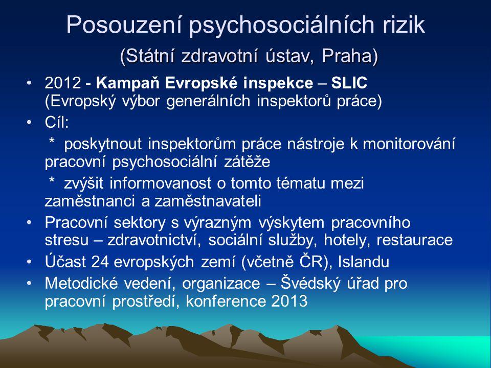 (Státní zdravotní ústav, Praha) Posouzení psychosociálních rizik (Státní zdravotní ústav, Praha) 2012 - Kampaň Evropské inspekce – SLIC (Evropský výbo