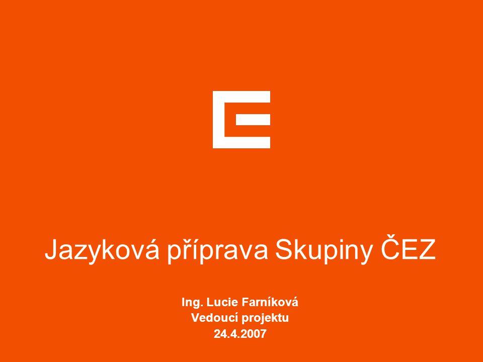 Jazyková příprava Skupiny ČEZ Ing. Lucie Farníková Vedoucí projektu 24.4.2007