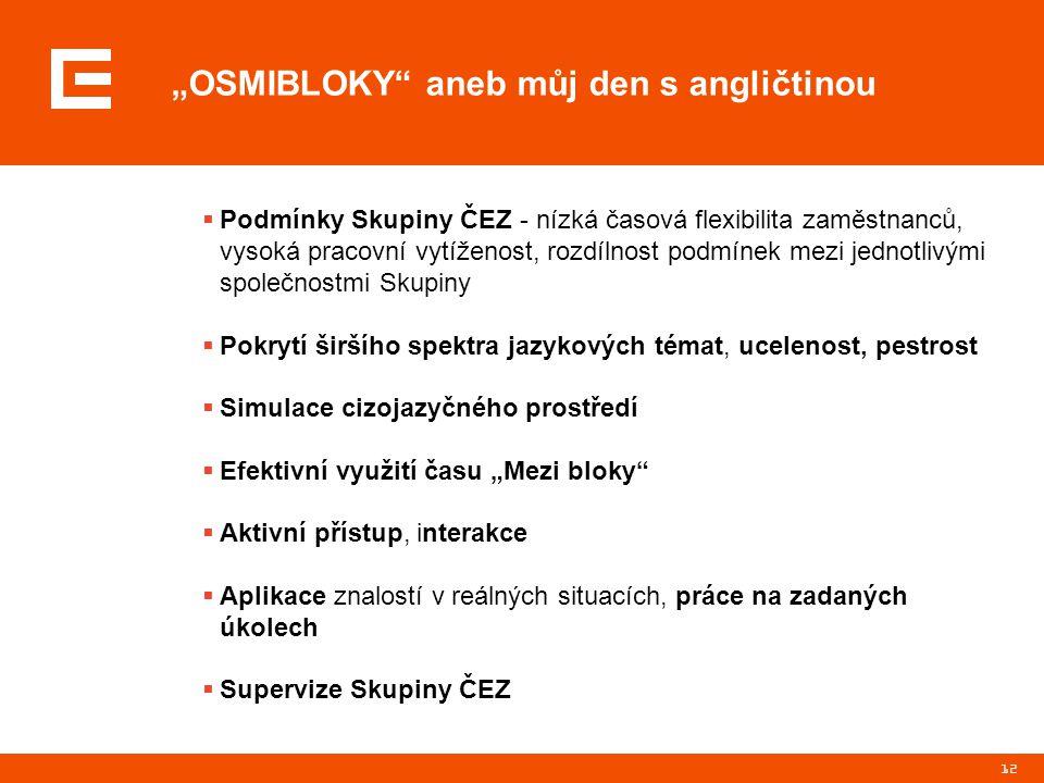"""12 """"OSMIBLOKY"""" aneb můj den s angličtinou  Podmínky Skupiny ČEZ - nízká časová flexibilita zaměstnanců, vysoká pracovní vytíženost, rozdílnost podmín"""