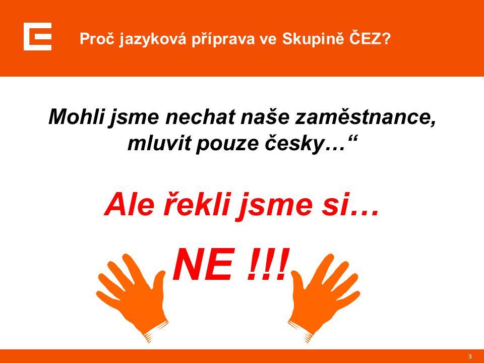 """3 Proč jazyková příprava ve Skupině ČEZ? Mohli jsme nechat naše zaměstnance, mluvit pouze česky…"""" Ale řekli jsme si… NE !!!"""