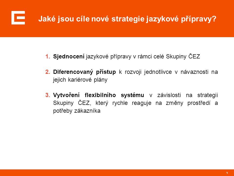 4 Jaké jsou cíle nové strategie jazykové přípravy? 1.Sjednocení jazykové přípravy v rámci celé Skupiny ČEZ 2.Diferencovaný přístup k rozvoji jednotliv
