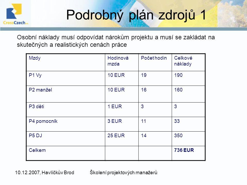 10.12.2007, Havlíčkův BrodŠkolení projektových manažerů Podrobný plán zdrojů 1 MzdyHodinová mzda Počet hodinCelkové náklady P1 Vy10 EUR19190 P2 manžel10 EUR16160 P3 děti1 EUR33 P4 pomocník3 EUR1133 P5 DJ25 EUR14350 Celkem736 EUR Osobní náklady musí odpovídat nárokům projektu a musí se zakládat na skutečných a realistických cenách práce
