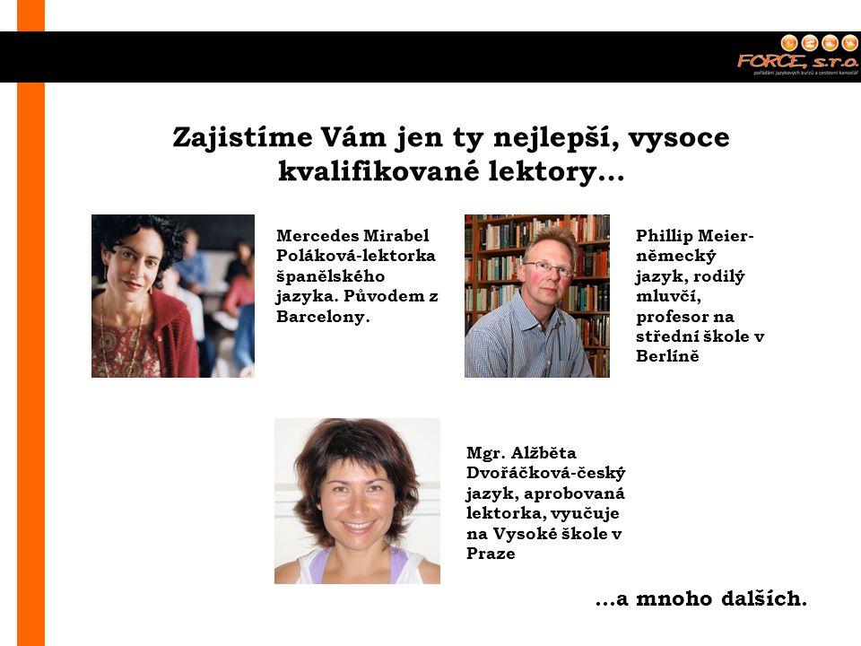 Zajistíme Vám jen ty nejlepší, vysoce kvalifikované lektory… Mercedes Mirabel Poláková-lektorka španělského jazyka.