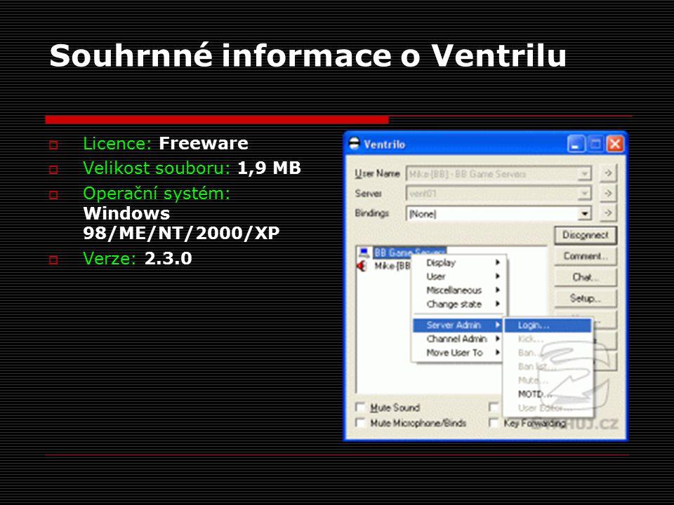 Souhrnné informace o Ventrilu  Licence: Freeware  Velikost souboru: 1,9 MB  Operační systém: Windows 98/ME/NT/2000/XP  Verze: 2.3.0