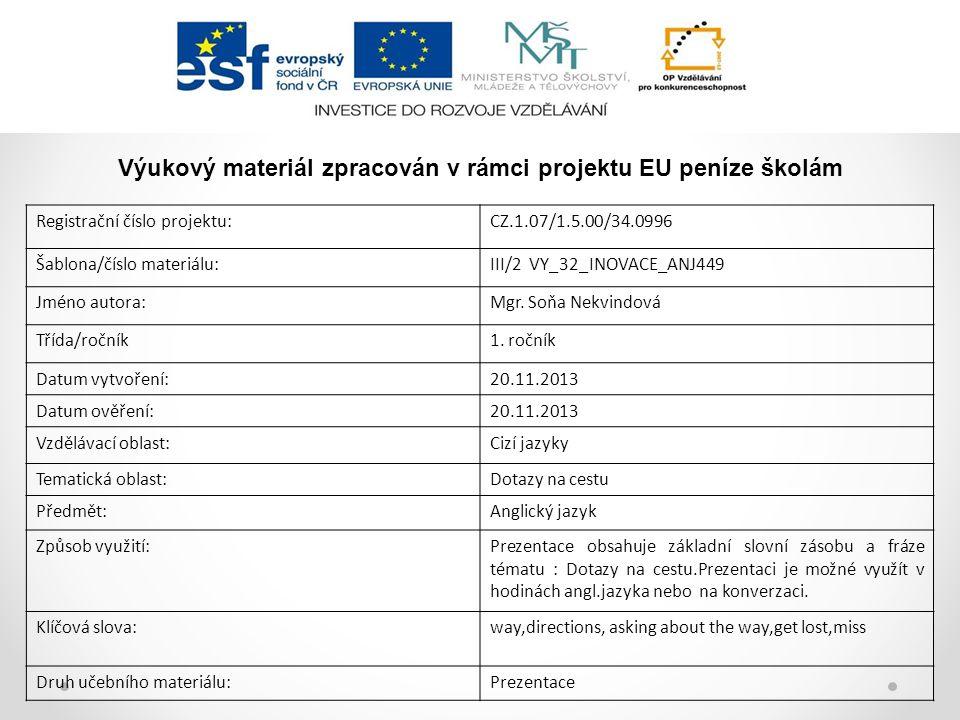 Registrační číslo projektu:CZ.1.07/1.5.00/34.0996 Šablona/číslo materiálu:III/2 VY_32_INOVACE_ANJ449 Jméno autora:Mgr.