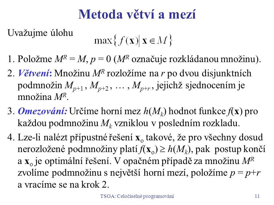 TSOA: Celočíselné programování11 Metoda větví a mezí Uvažujme úlohu 1.Položme M R = M, p = 0 (M R označuje rozkládanou množinu).