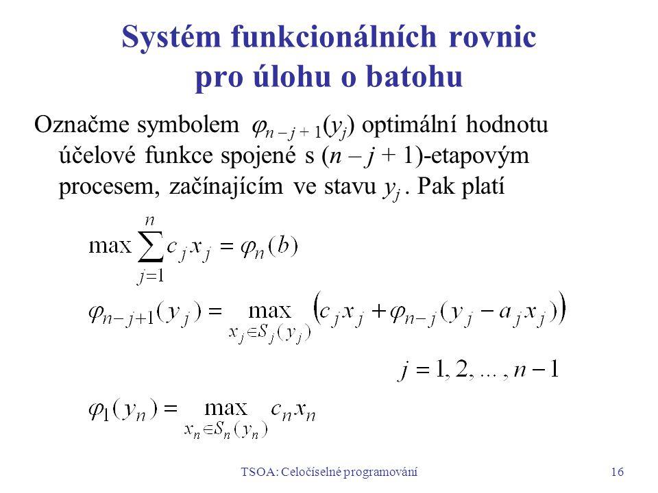TSOA: Celočíselné programování16 Systém funkcionálních rovnic pro úlohu o batohu Označme symbolem  n – j + 1 (y j ) optimální hodnotu účelové funkce spojené s (n – j + 1)-etapovým procesem, začínajícím ve stavu y j.