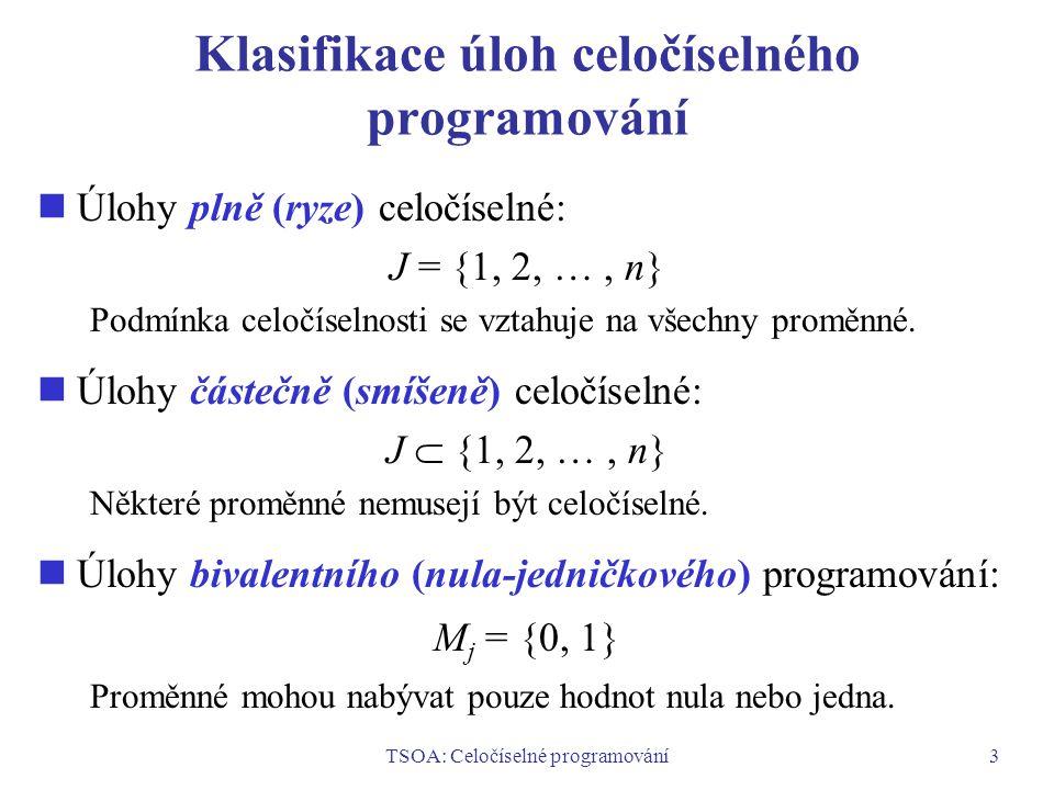 TSOA: Celočíselné programování3 Klasifikace úloh celočíselného programování Úlohy plně (ryze) celočíselné: J = {1, 2, …, n} Podmínka celočíselnosti se vztahuje na všechny proměnné.
