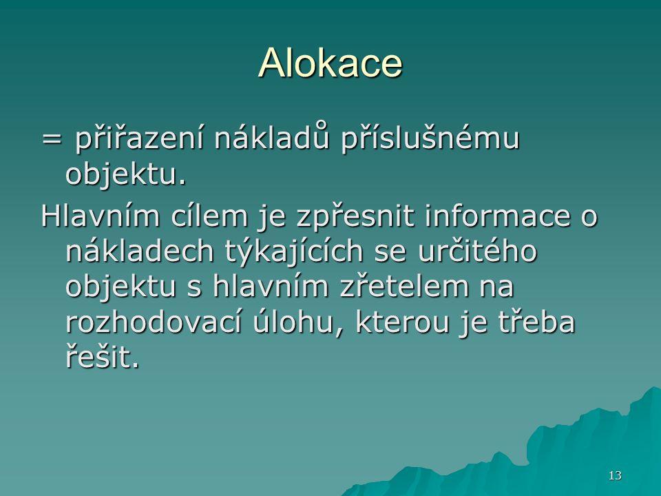 13 Alokace = přiřazení nákladů příslušnému objektu.