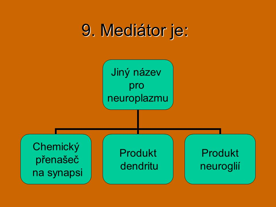 9. Mediátor je: Jiný název pro neuroplazmu Chemický přenašeč na synapsi Produkt dendritu Produkt neuroglií