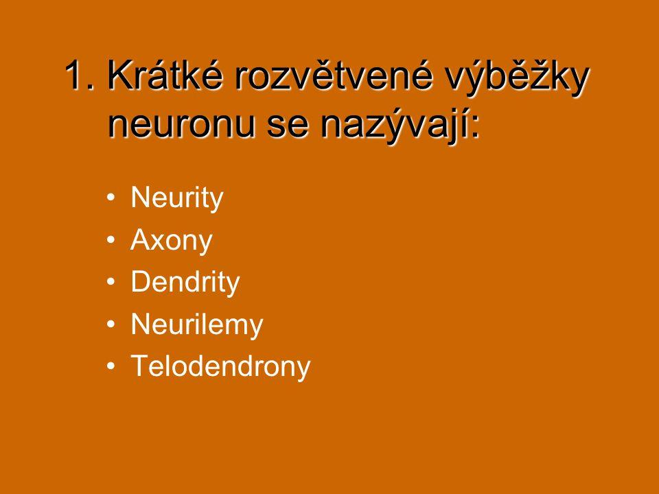 1. Krátké rozvětvené výběžky neuronu se nazývají: Neurity Axony Dendrity Neurilemy Telodendrony
