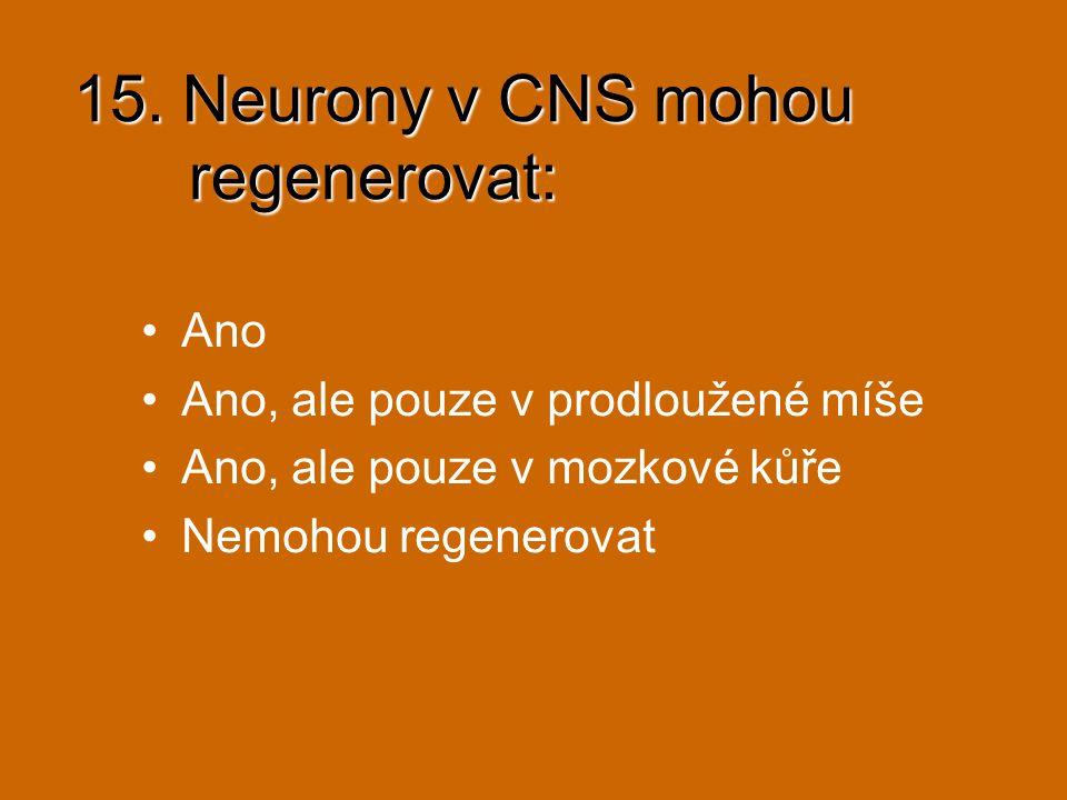 15. Neurony v CNS mohou regenerovat: Ano Ano, ale pouze v prodloužené míše Ano, ale pouze v mozkové kůře Nemohou regenerovat