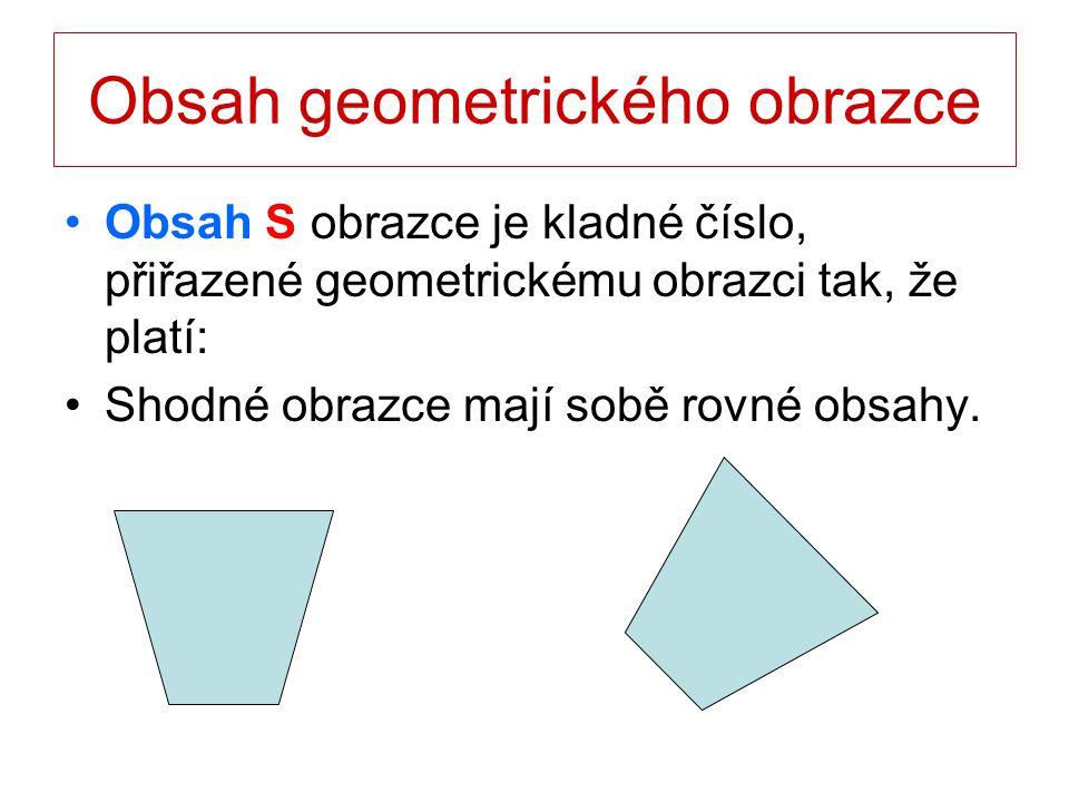 Obsah geometrického obrazce Obsah S obrazce je kladné číslo, přiřazené geometrickému obrazci tak, že platí: Skládá-li se obrazec z několika obrazců, které se navzájem nepřekrývají, rovná se jeho obsah součtu jejich obsahů.
