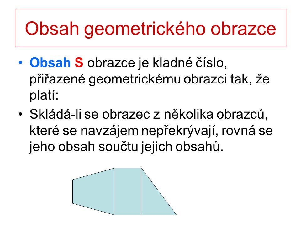Obsah geometrického obrazce Obsah S obrazce je kladné číslo, přiřazené geometrickému obrazci tak, že platí: Obsah čtverce, jehož strana má délku 1 (mm, cm, m, …), je 1 (mm 2, cm 2, m 2, …),.