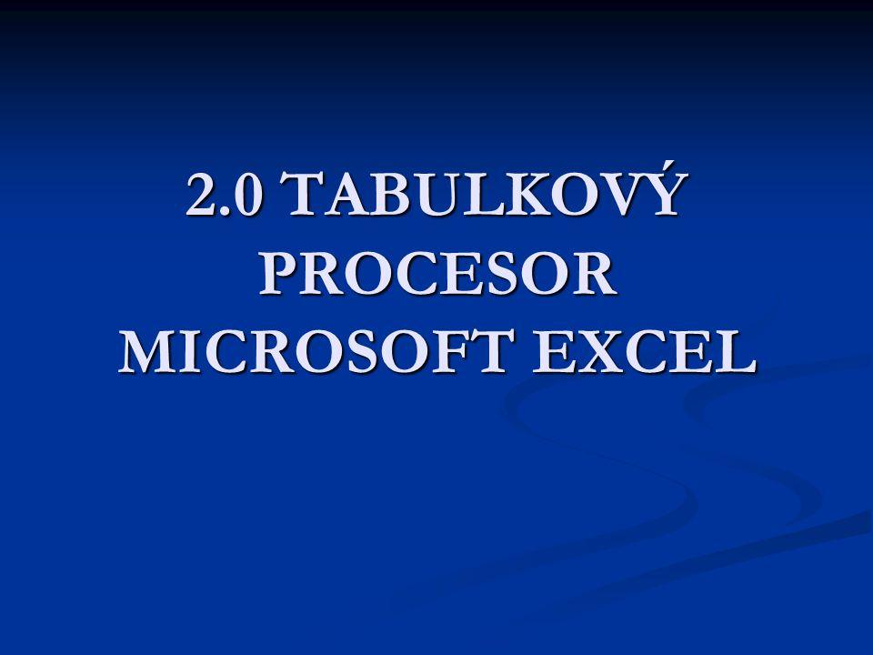 Microsoft Excel Program pro tvorbu tabulek.Program pro tvorbu tabulek.