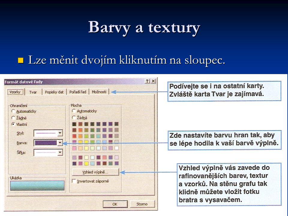 Barvy a textury Lze měnit dvojím kliknutím na sloupec. Lze měnit dvojím kliknutím na sloupec.