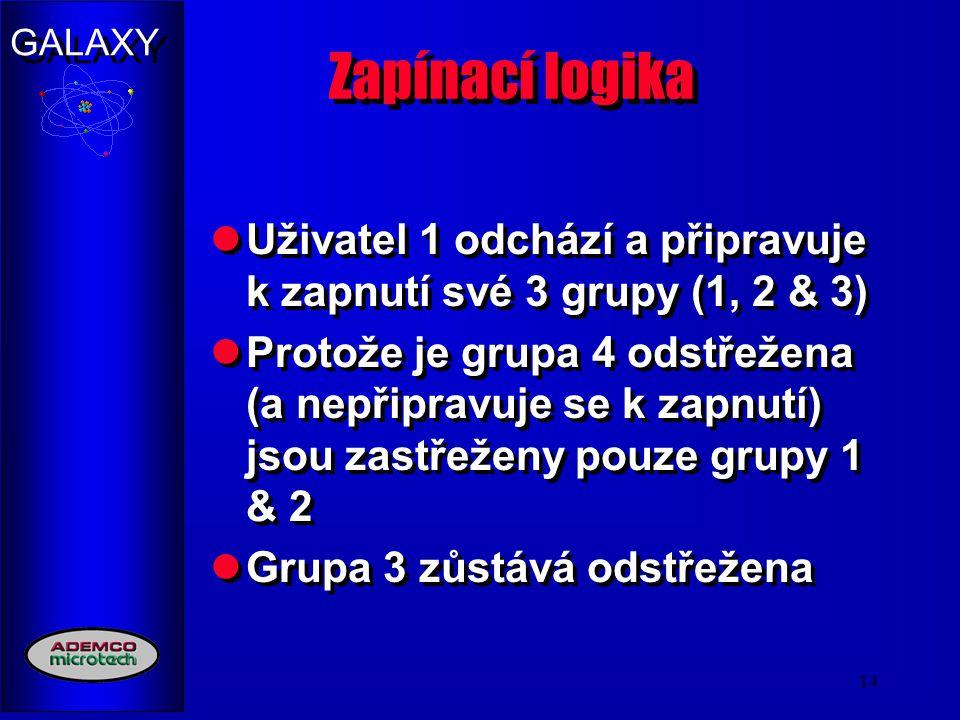 GALAXY 14 Zapínací logika Uživatel 1 odchází a připravuje k zapnutí své 3 grupy (1, 2 & 3) Protože je grupa 4 odstřežena (a nepřipravuje se k zapnutí)