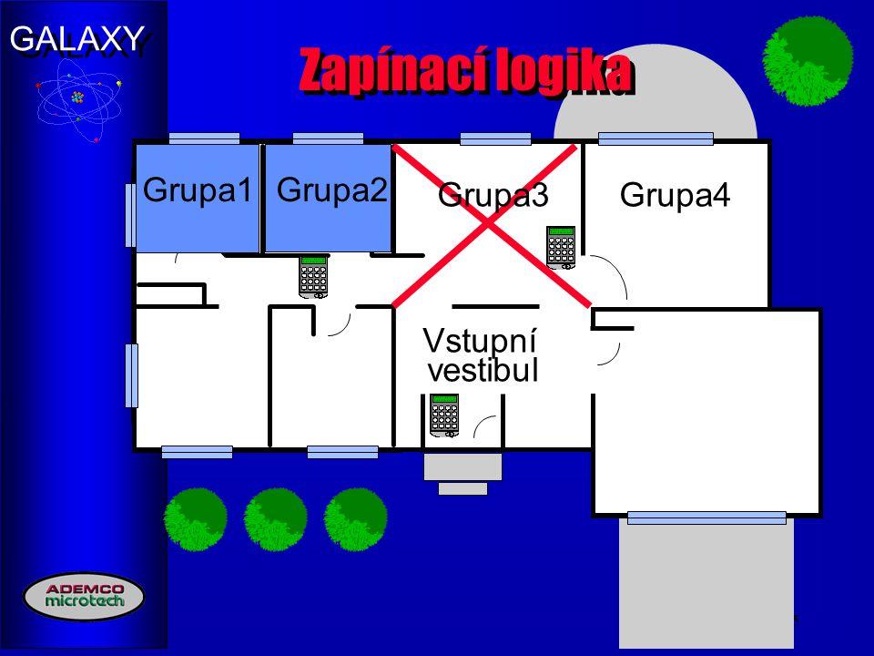 GALAXY 15 Zapínací logika Group1Group2Grupa4 Vstupní vestibul Grupa1Grupa2 Grupa3