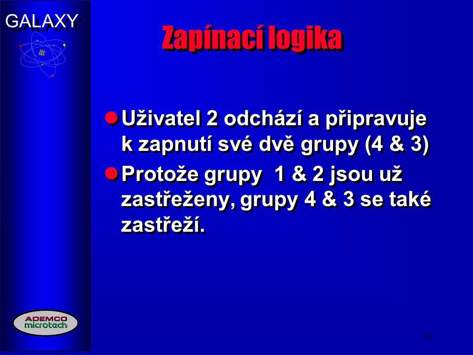 GALAXY 16 Zapínací logika Uživatel 2 odchází a připravuje k zapnutí své dvě grupy (4 & 3) Protože grupy 1 & 2 jsou už zastřeženy, grupy 4 & 3 se také