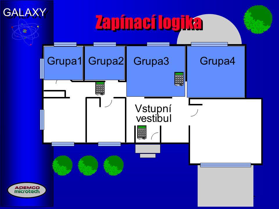 GALAXY 17 Zapínací logika Group1Group2Group3Group4 Vstupní vestibul Grupa1Grupa2Grupa4 Grupa3
