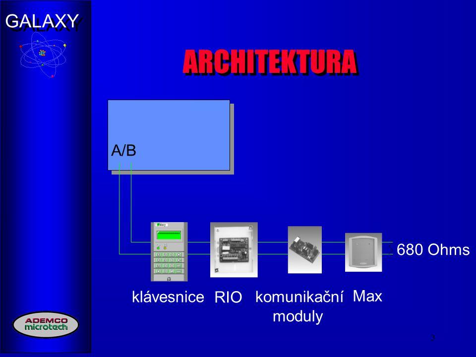 GALAXY 4 Maximální konfigurace Galaxy 500 4 sběrnice RS 485 až 4 km (Max.) Klávesnice (32) Modul RS-232 (1) Bezkontaktní čtečky (32) Tiskový interface (1) Telefonní komunikáto r (1) Smart PSU (64) RIO (64) Linka 2 1 km (Max.) Linka 3 1 km (Max.) Linka 4 1 km (Max.) Linka 1 1 km (Max.)