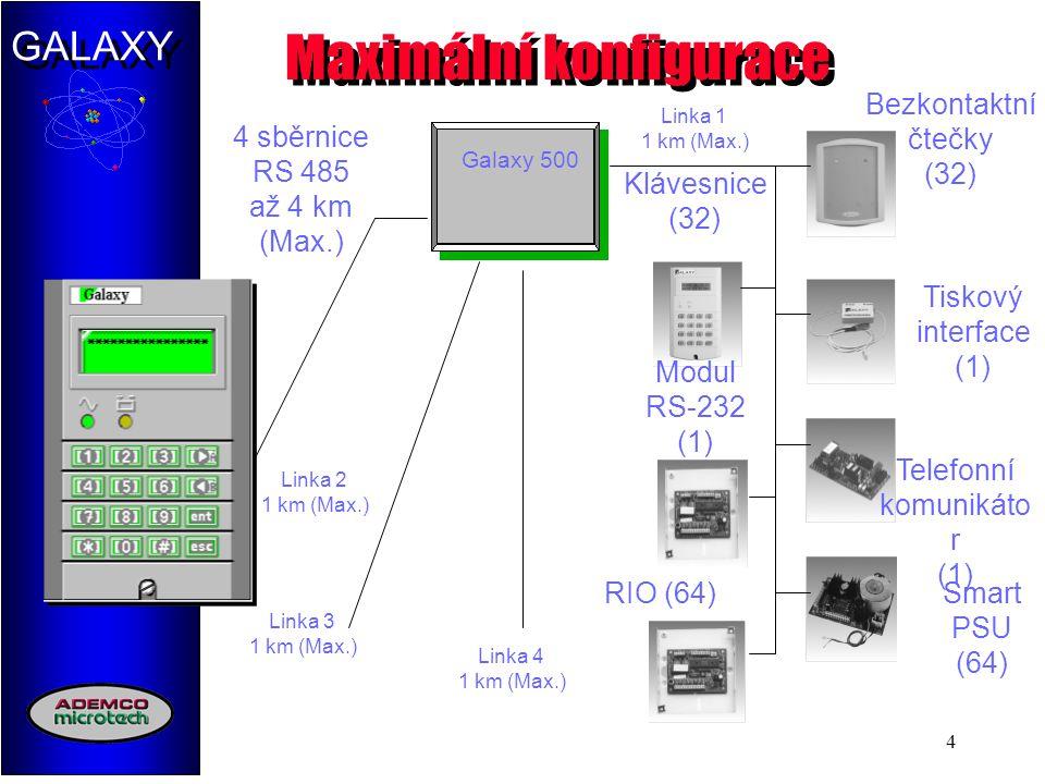 GALAXY 4 Maximální konfigurace Galaxy 500 4 sběrnice RS 485 až 4 km (Max.) Klávesnice (32) Modul RS-232 (1) Bezkontaktní čtečky (32) Tiskový interface