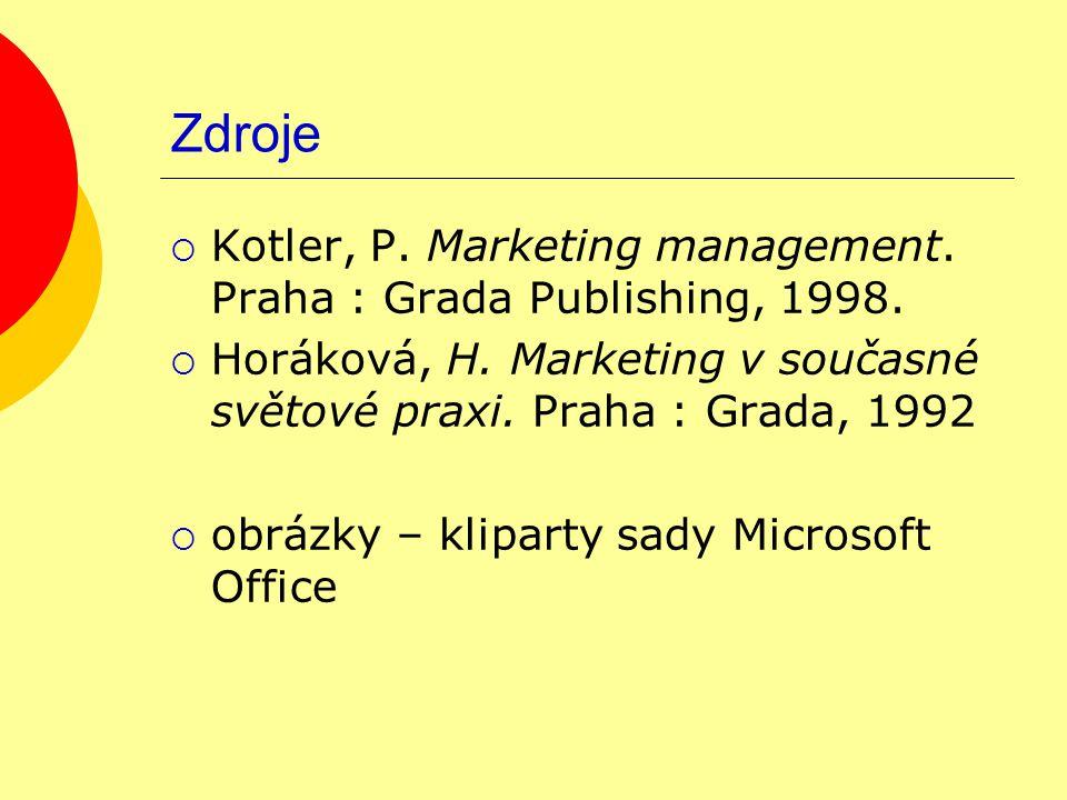 Zdroje  Kotler, P. Marketing management. Praha : Grada Publishing, 1998.  Horáková, H. Marketing v současné světové praxi. Praha : Grada, 1992  obr
