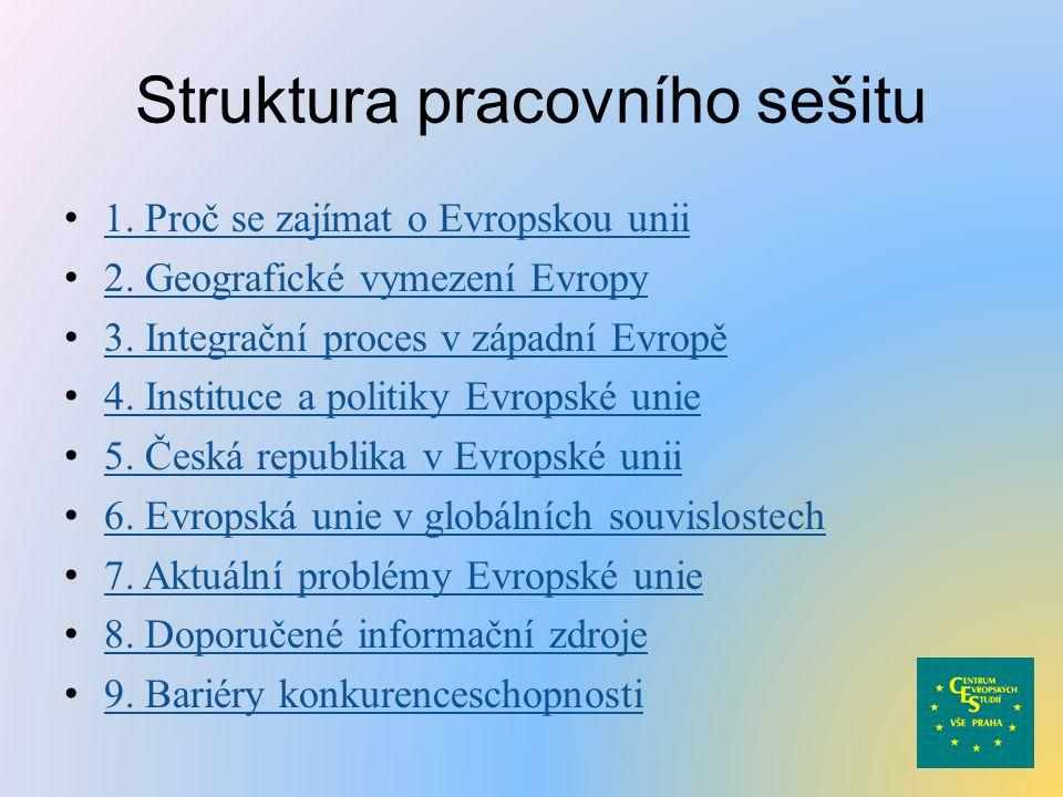 Struktura pracovního sešitu 1. Proč se zajímat o Evropskou unii 2.
