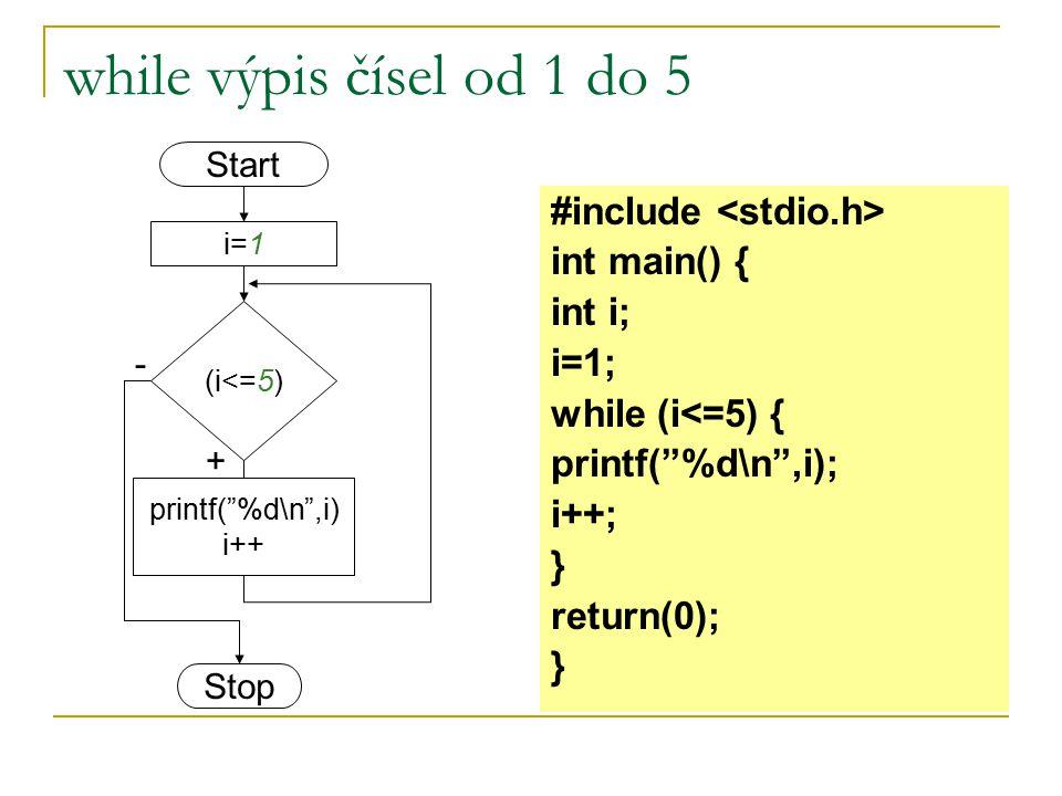 """while výpis čísel od 1 do 5 #include int main() { int i; i=1; while (i<=5) { printf(""""%d\n"""",i); i++; } return(0); } Start Stop (i<=5) i=1 + - printf(""""%"""