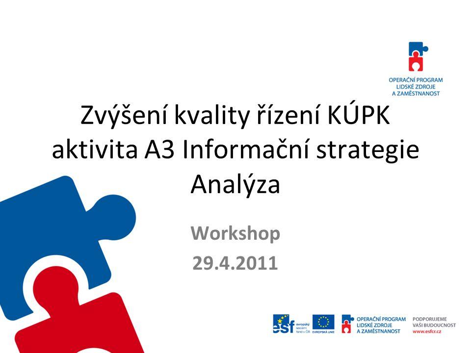 Zvýšení kvality řízení KÚPK aktivita A3 Informační strategie Analýza Workshop 29.4.2011