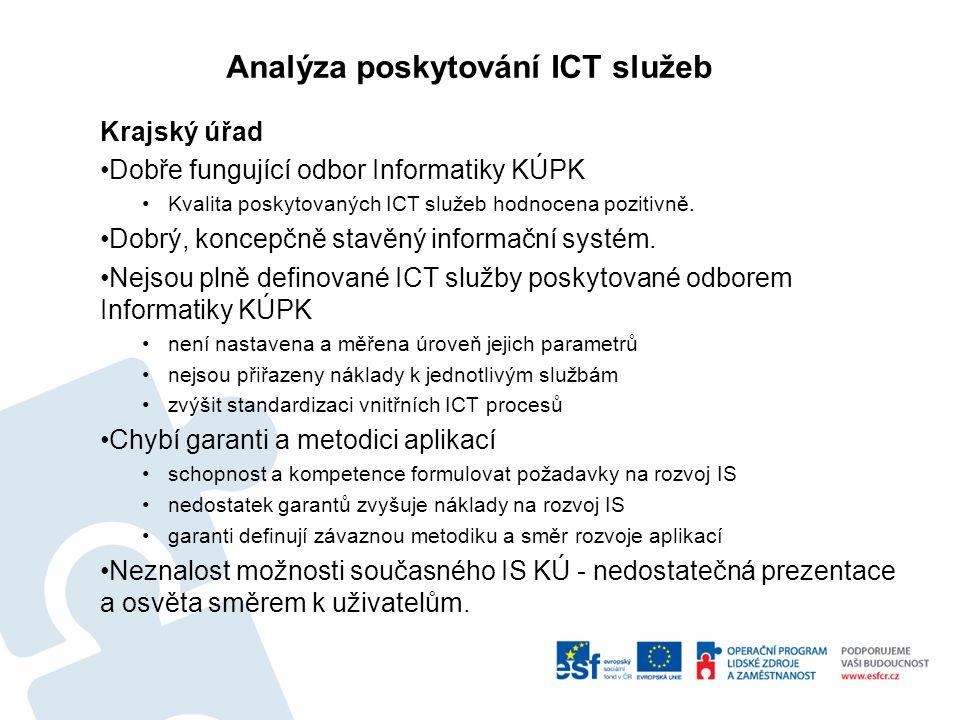 Analýza poskytování ICT služeb Krajský úřad Dobře fungující odbor Informatiky KÚPK Kvalita poskytovaných ICT služeb hodnocena pozitivně.