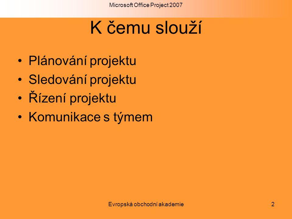 Microsoft Office Project 2007 Evropská obchodní akademie2 K čemu slouží Plánování projektu Sledování projektu Řízení projektu Komunikace s týmem
