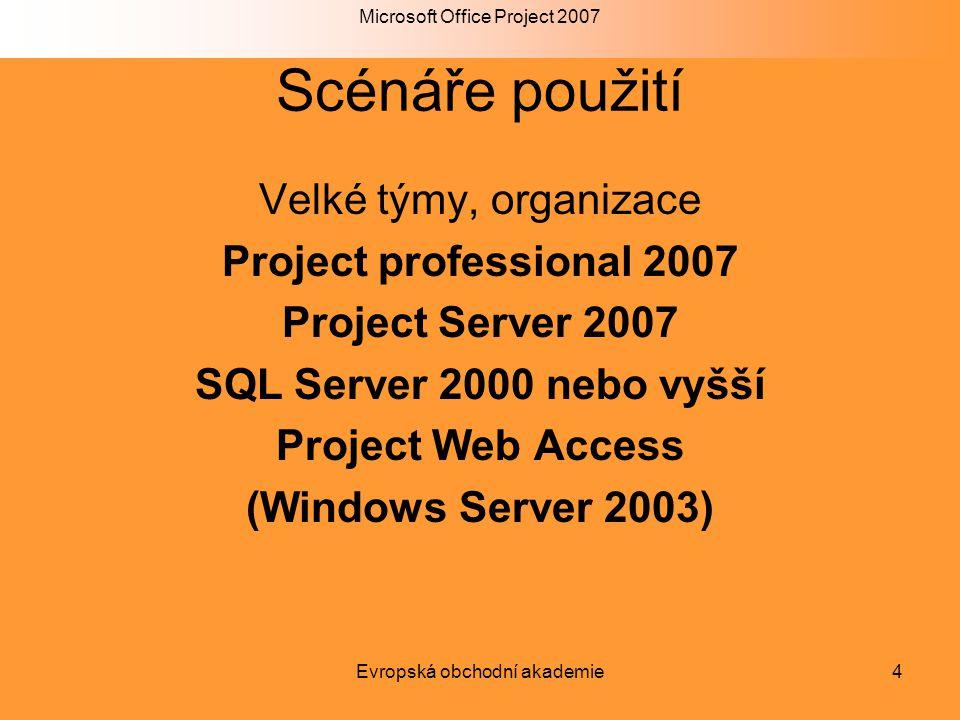 Microsoft Office Project 2007 Evropská obchodní akademie4 Scénáře použití Velké týmy, organizace Project professional 2007 Project Server 2007 SQL Ser