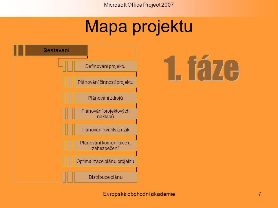 Microsoft Office Project 2007 Evropská obchodní akademie7 Mapa projektu Sestavení Definování projektu Plánování činností projektu Plánování zdrojů Plá