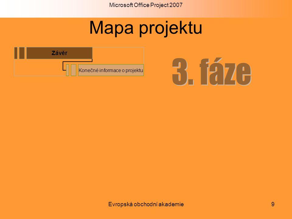Microsoft Office Project 2007 Evropská obchodní akademie9 Mapa projektu Závěr Konečné informace o projektu