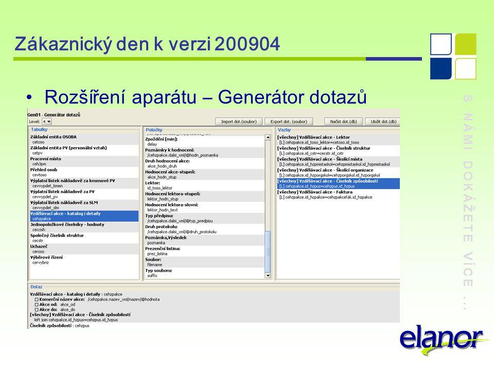 S NÁMI DOKÁŽETE VÍCE... Zákaznický den k verzi 200904 Rozšíření aparátu – Generátor dotazů