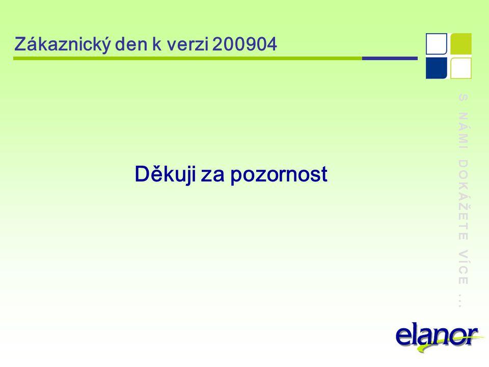 S NÁMI DOKÁŽETE VÍCE... Zákaznický den k verzi 200904 Děkuji za pozornost