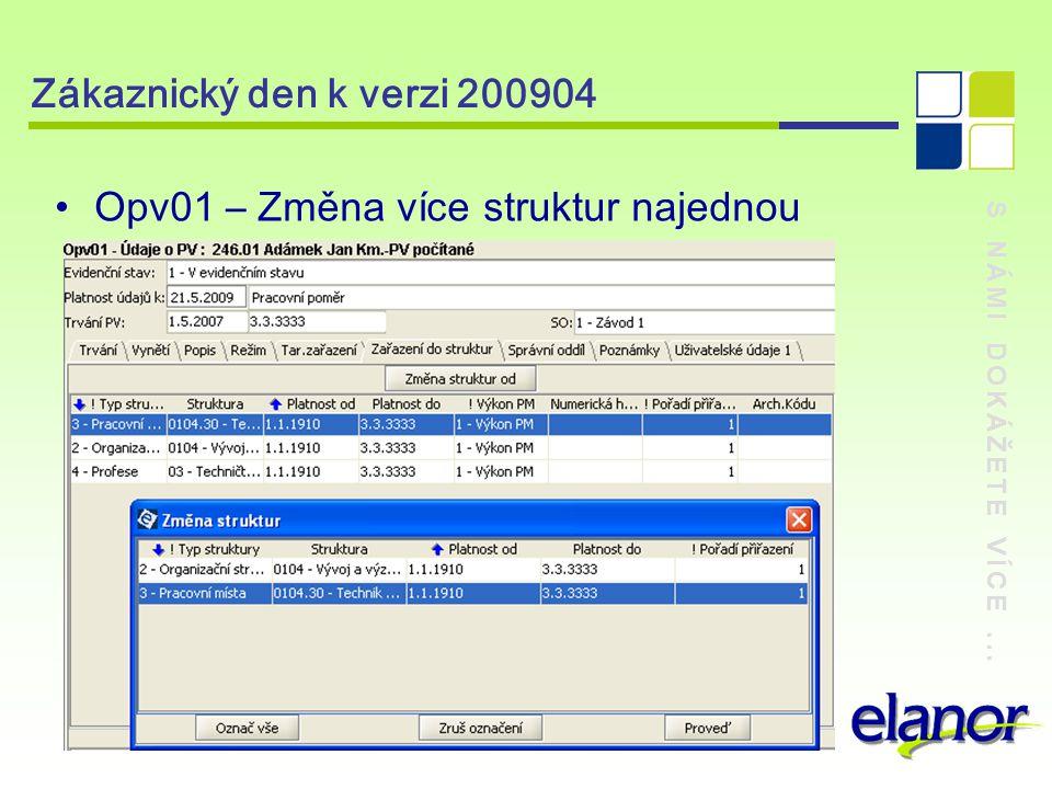 S NÁMI DOKÁŽETE VÍCE... Zákaznický den k verzi 200904 Opv01 – Změna více struktur najednou
