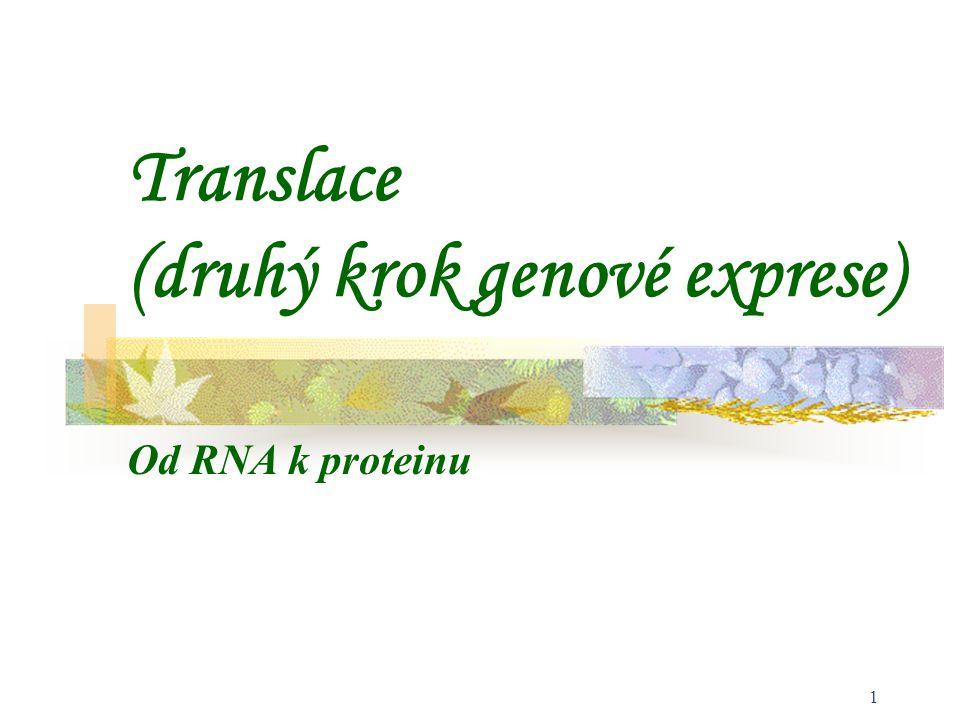 2 Genetický kód tRNA Aminoacyl-tRNA-syntetasa Ribosom Iniciace translace Elongace translace (prodlužování řetězce) Terminace translace Použitá literatura Obsah