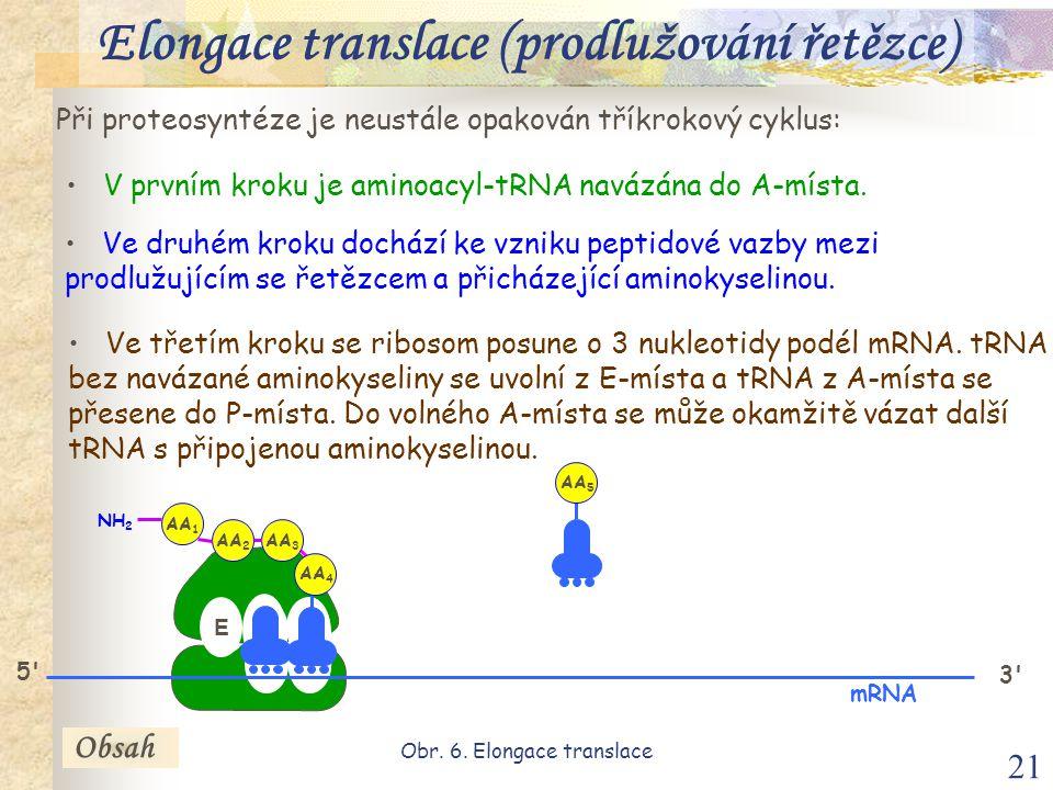 21 Při proteosyntéze je neustále opakován tříkrokový cyklus: V prvním kroku je aminoacyl-tRNA navázána do A-místa.