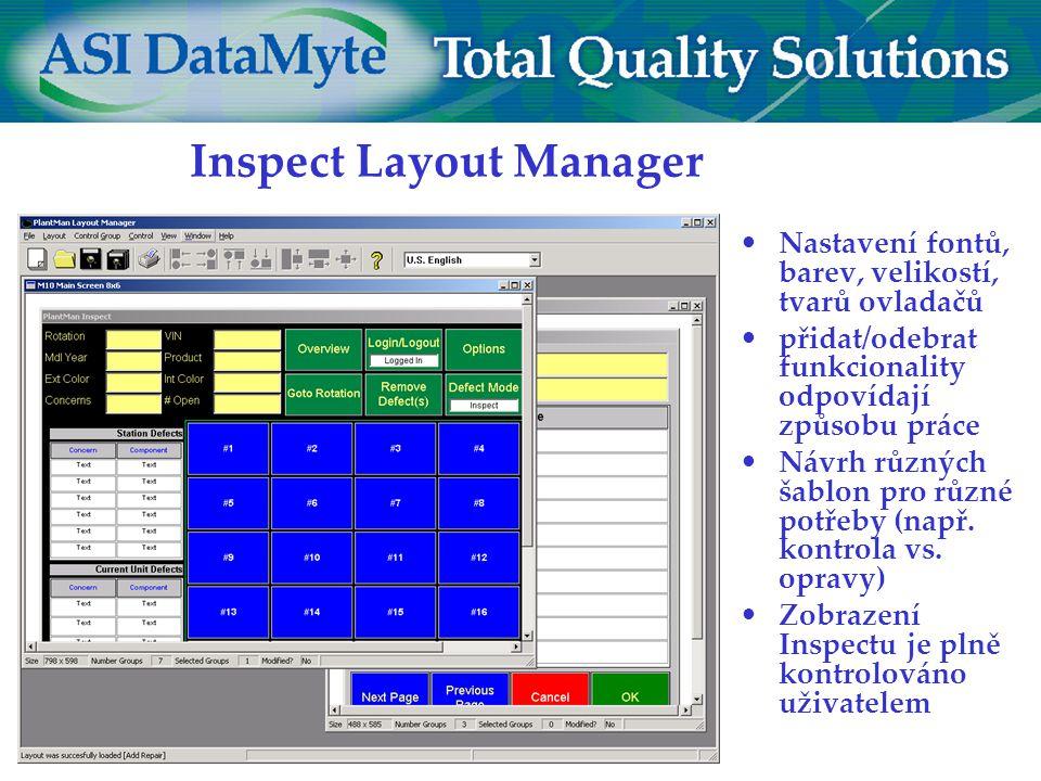 Inspect Layout Manager Nastavení fontů, barev, velikostí, tvarů ovladačů přidat/odebrat funkcionality odpovídají způsobu práce Návrh různých šablon pro různé potřeby (např.