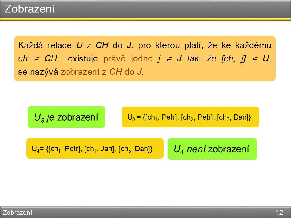 Zobrazení Zobrazení 12 U 4 = {[ch 1, Petr], [ch 1, Jan], [ch 3, Dan]} Každá relace U z CH do J, pro kterou platí, že ke každému ch  CH existuje právě jedno j  J tak, že [ch, j]  U, se nazývá zobrazení z CH do J.