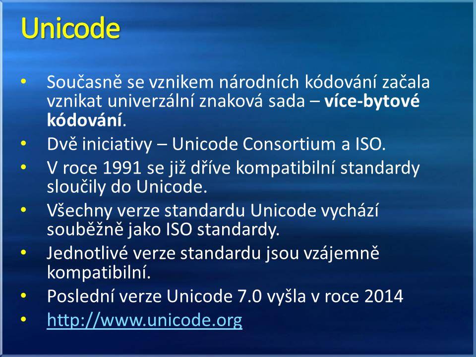Současně se vznikem národních kódování začala vznikat univerzální znaková sada – více-bytové kódování. Dvě iniciativy – Unicode Consortium a ISO. V ro