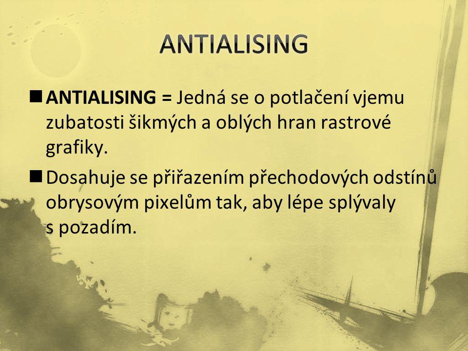 ANTIALISING = Jedná se o potlačení vjemu zubatosti šikmých a oblých hran rastrové grafiky.